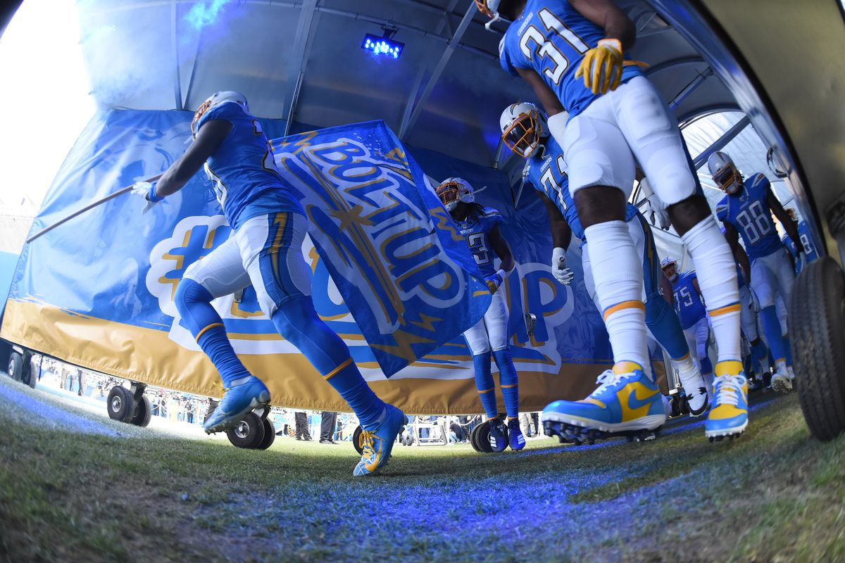 The Chargers take the field via the tunnel during an NFL game between the Oakland Raiders and the Los Angeles Chargers on December 22, 2019, at Dignity Health Sports Park in Carson, CA