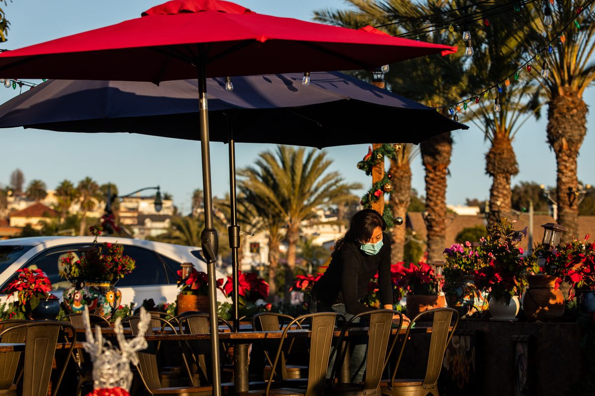 Outdoor dining on the final afternoon before a 10 shut-down because of increased COVID-19 cases in Los Angeles County
