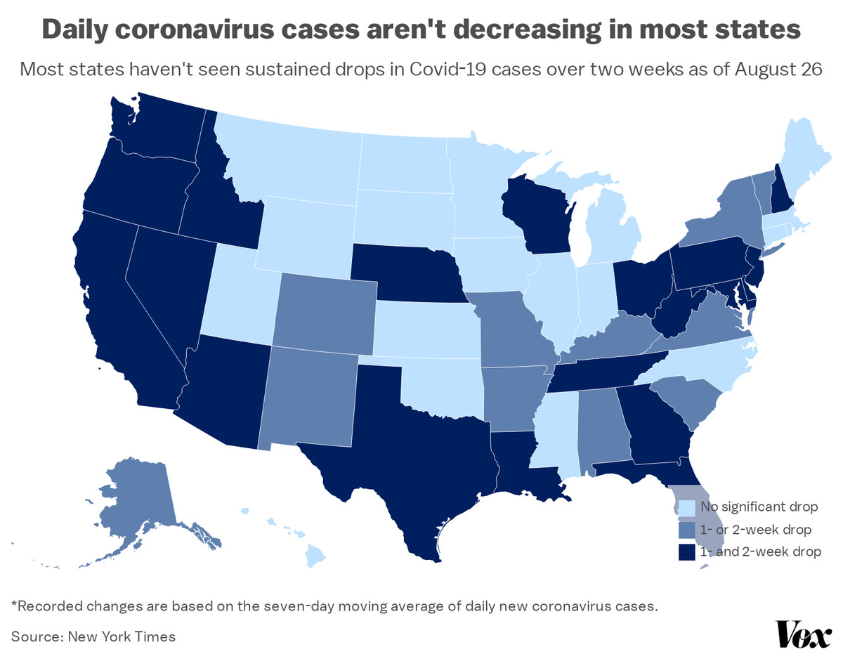 A map depicting changes in coronavirus cases by state.