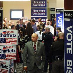 Republican supporters walk through the Hilton  in Salt Lake City  Tuesday, Nov. 6, 2012.