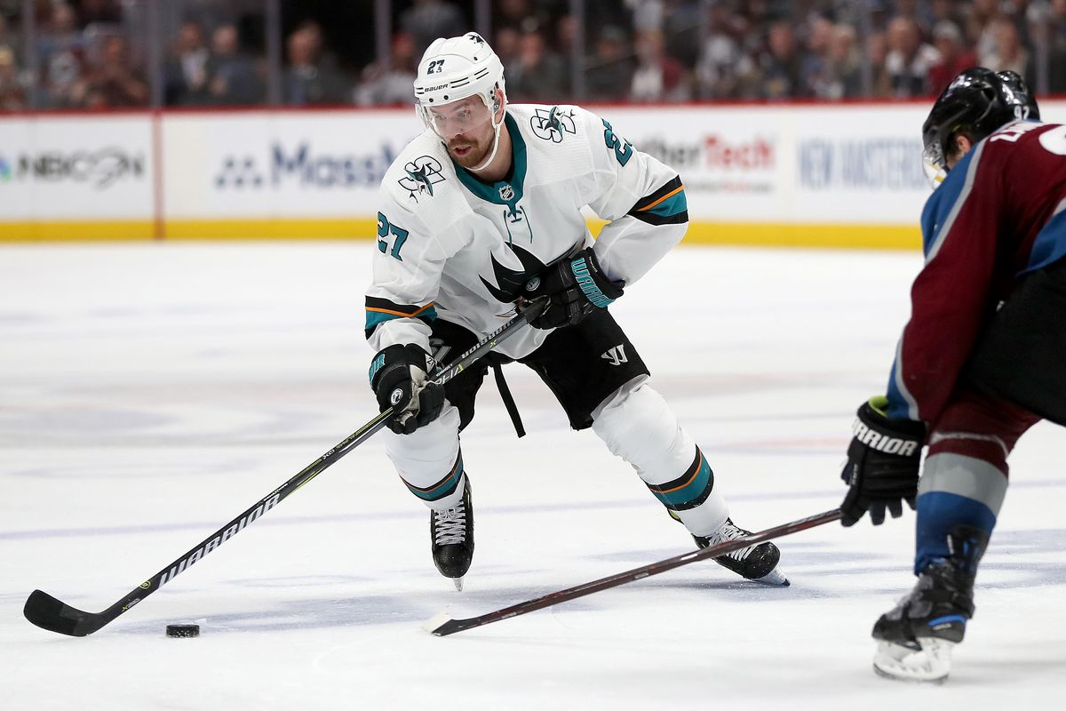 Joonas Donskoi of the San Jose Sharks attempts to get past Gabriel Landeskog of the Colorado Avalanche in the third period during Game 6 of the Western Conference Second Round during the 2019 NHL Stanley Cup Playoffs at the Pepsi Center on May 6, 2019 in