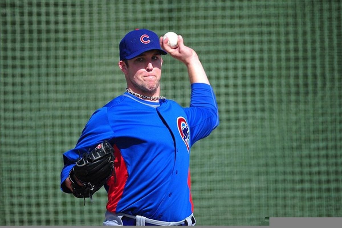 Mesa, AZ, USA; Chicago Cubs pitcher Paul Maholm during spring training workouts at Fitch Park.  Credit: Mark J. Rebilas-US PRESSWIRE