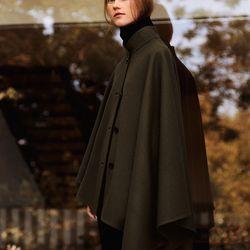 Cashmere blended cape, $189.90; Cashmere long turtleneck sweater, $129.90; wool jogger pants, $59.90