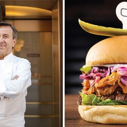 """Daniel Boulud's """"Piggie Shack"""" burger borrows the pulled pork recipe from DBGB, then places it atop a beff patty along with jalepeno mayo, lettuce, and a vinegar slaw. It kicks off the collaboration week, on June 9."""