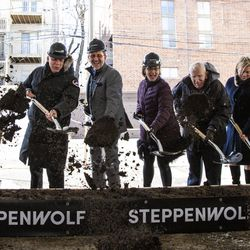 The Steppenwolf Theatre Company breaks ground on a campus expansion and unveils plans for a new theater building on Halsted Street, Tuesday, March 5, 2019. | Ashlee Rezin/Sun-Times