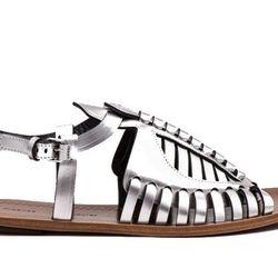 "<b>Proenza Schouler</b> Woven Leather Sandal, <a href=""http://www.proenzaschouler.com/woven-leather-sandal-1.html?s=5636"">$695</a>"