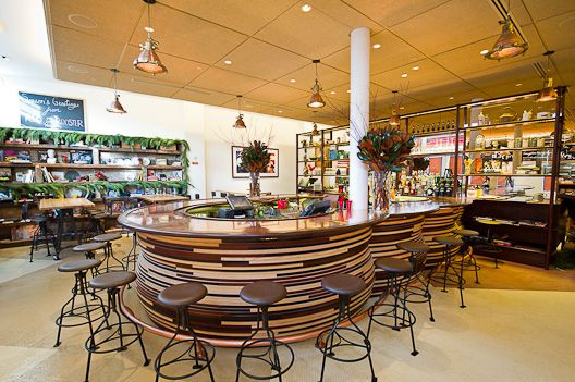 Red Rooster's big bar with wooden slatting