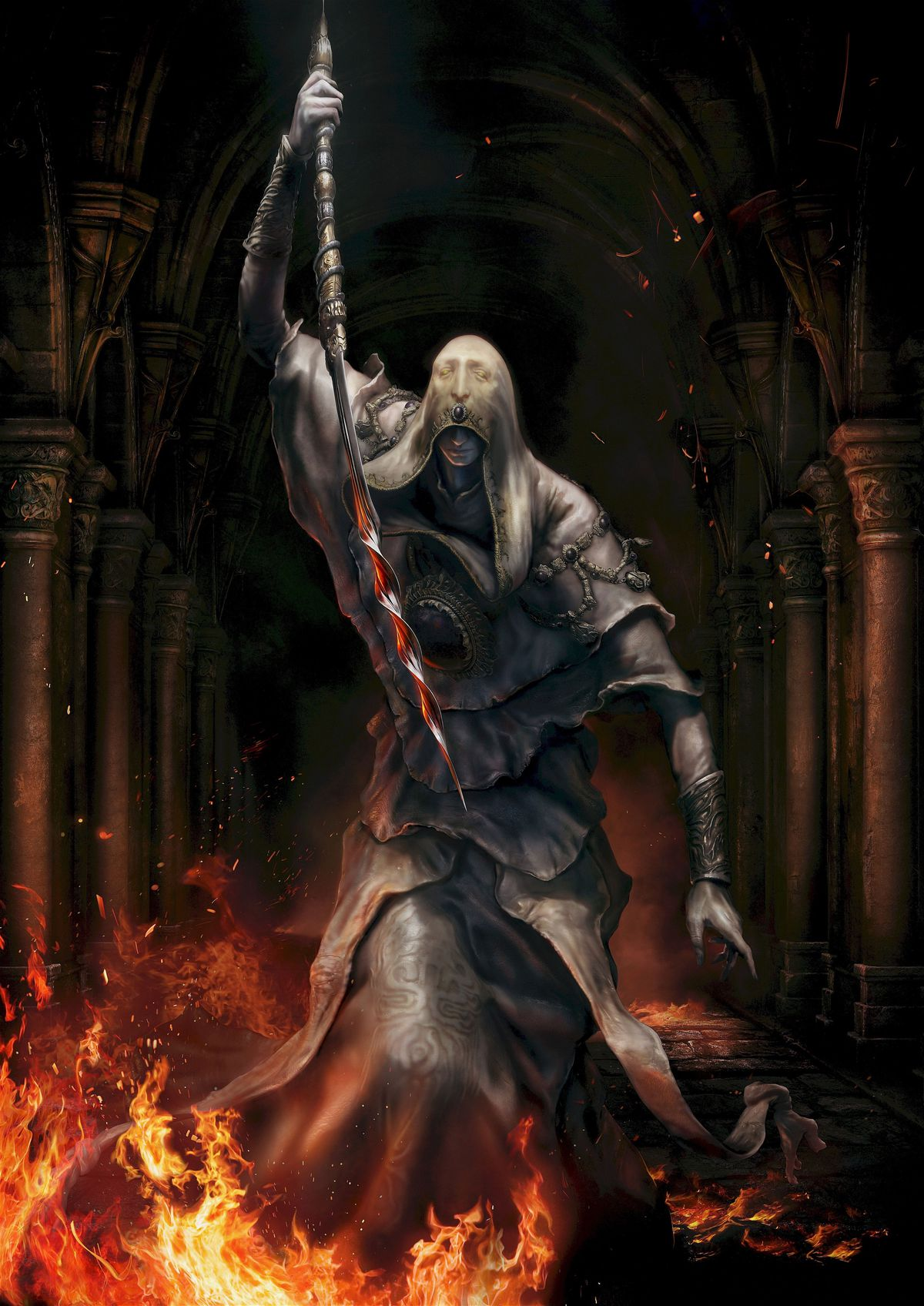 Artwork of a robed character wielding a spiral sword from Elden Ring.