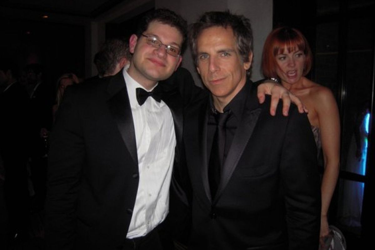 """No, it's not a scene from Zoolander 2: Ben Stiller with NYC Fashion Week twitter fraud Nathan Stobezki. Image via <a href=""""http://racked.com/archives/2010/08/25/nathan-sobezki-is-mysterious-fashion-twitterer-fashionweeknyc.php"""">Racked National</a>"""