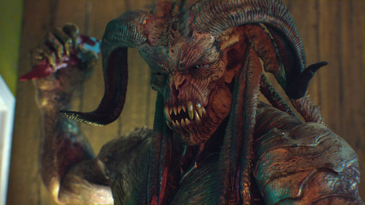 A snaggle-toothed, ram-horned, demon-looking monster in Behemoth