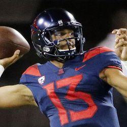 Arizona Wildcats quarterback Brandon Dawkins throws a pass against Utah in Tucson, Arizona, on Friday, Sept. 22, 2017. Utah beat Arizona 30-24.