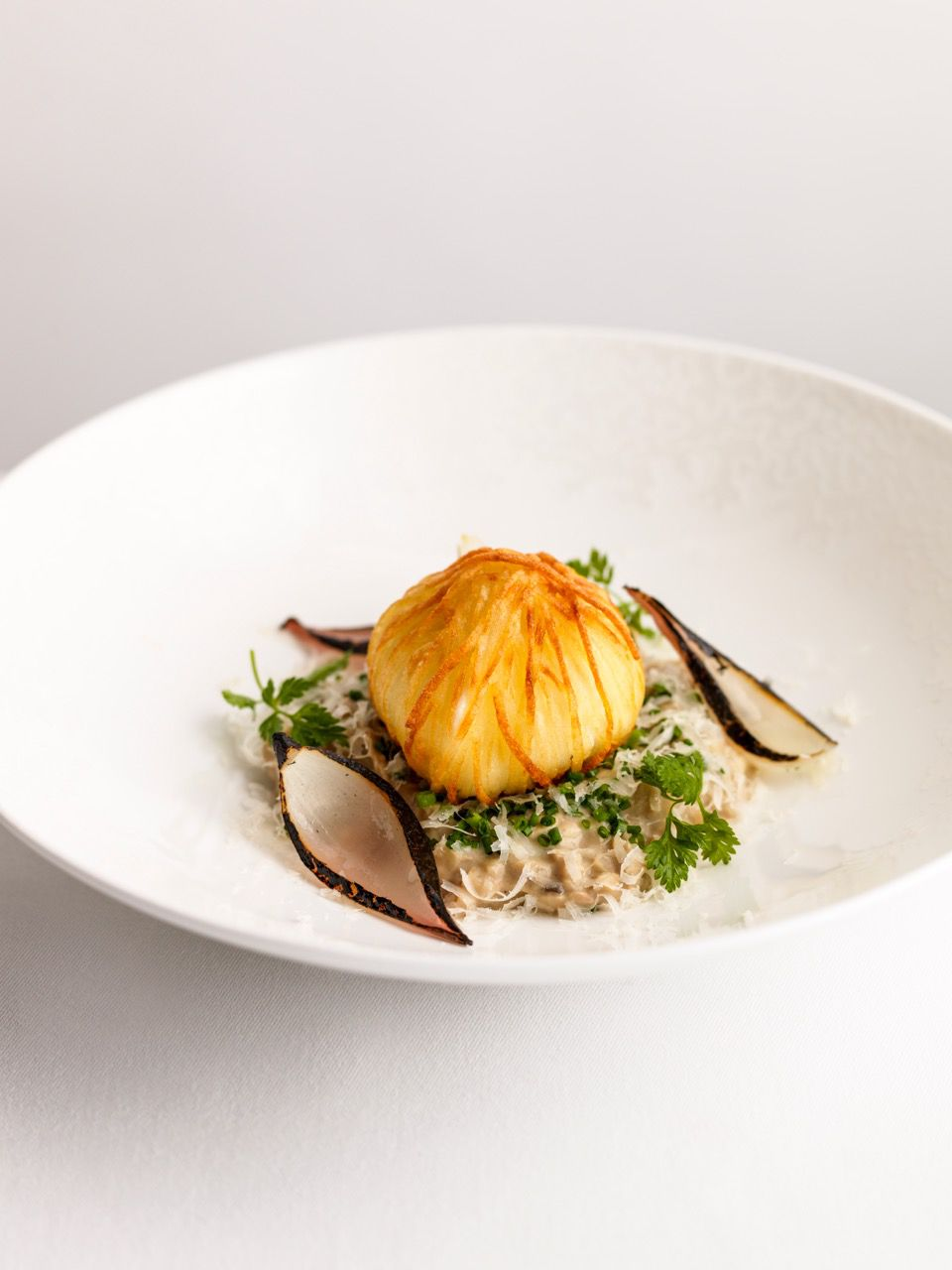 Claude's mushroom risotto with Daniel's crispy egg at Kerridge's Bar and Grill, the upcoming new London restaurant opening from Chef Tom Kerridge