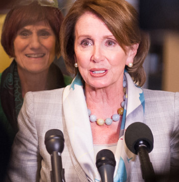 Screen shot of Minority Leader Nancy Pelosi and Rep. Rosa DeLauro in an undated photo on the home page of Pelosi's official website