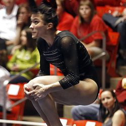 Utah's Nancy Damianova performs on the floor during during the NCAA Salt Lake Regional Gymnastics Saturday, April 7, 2012 in Salt Lake City.