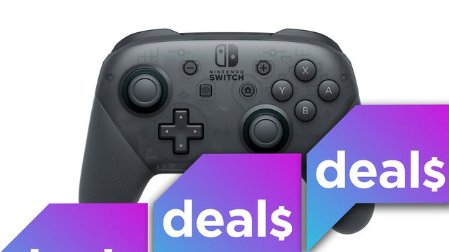 a product shot of the Nintendo Switch Pro Controller overlaid with the Polygon Deals logo