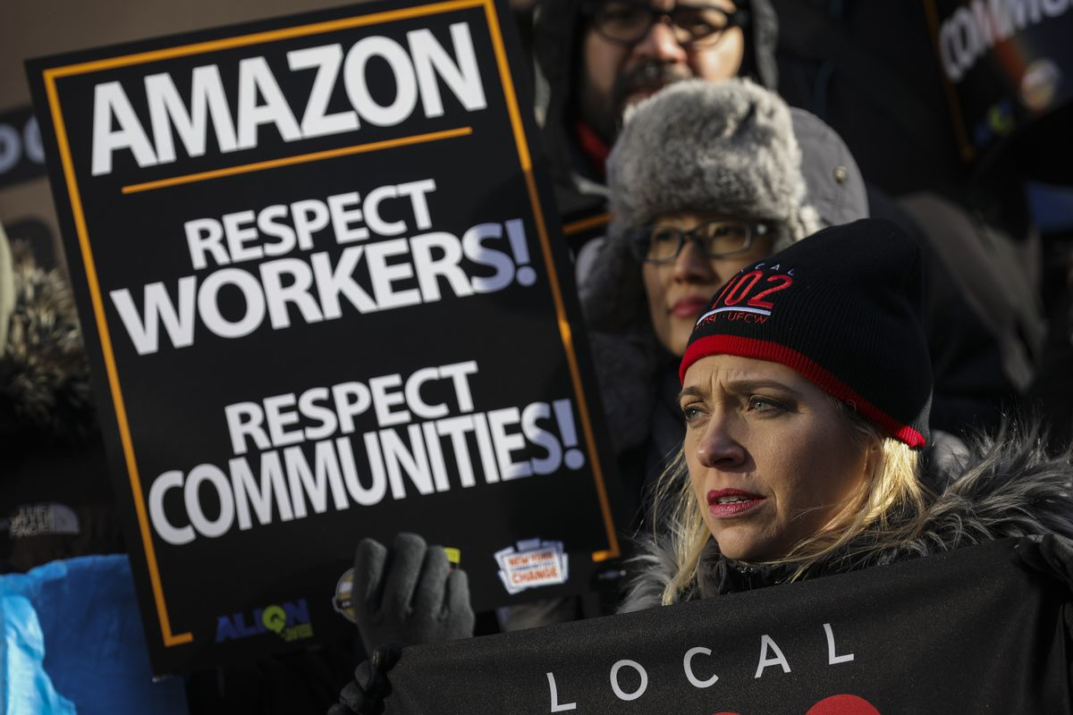 Anti-Amazon Protestors Rally At NYC City Hall Against Queens Second Headquarters