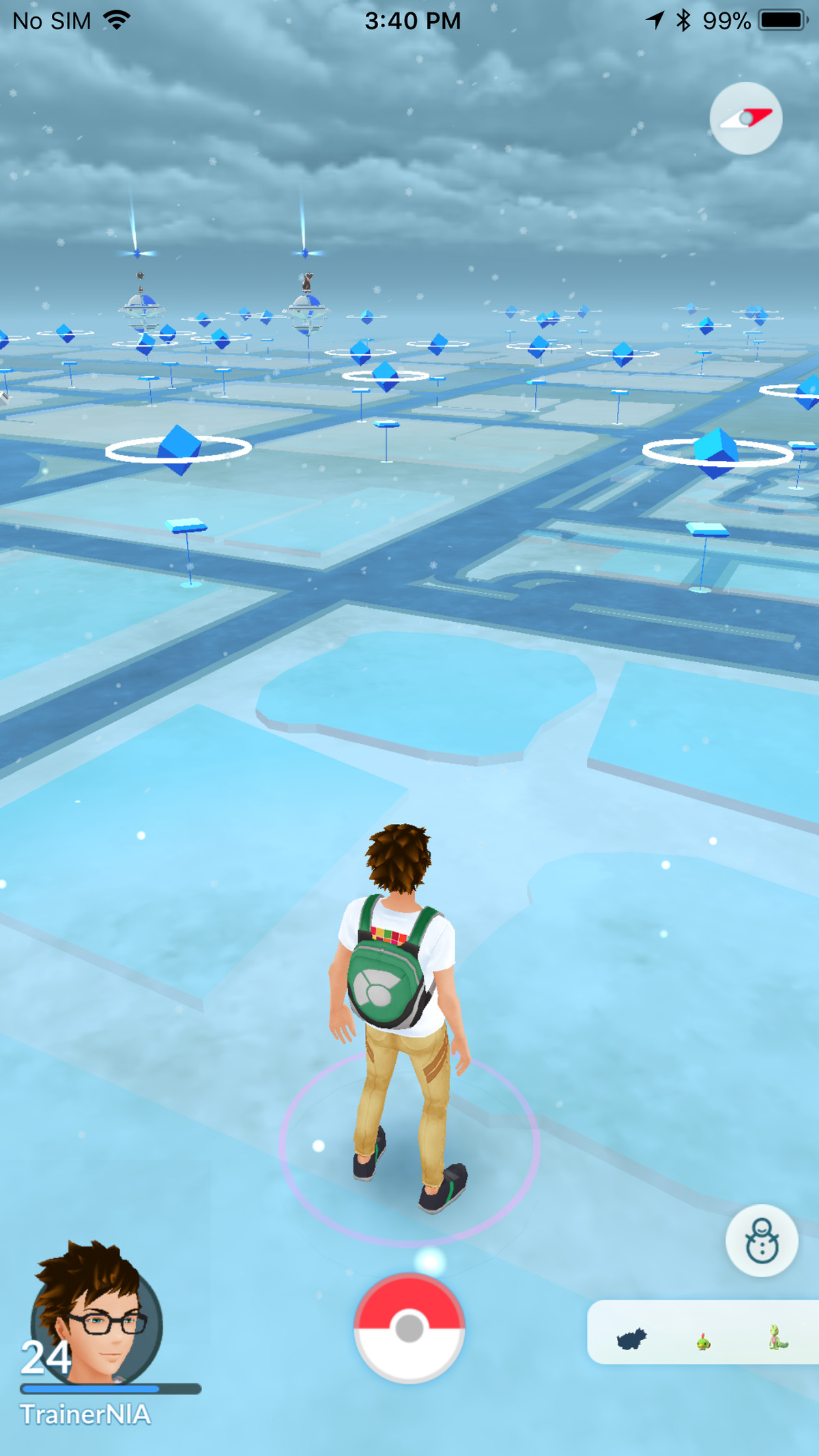 Snow in Pokémon Go, as of the weather system update.