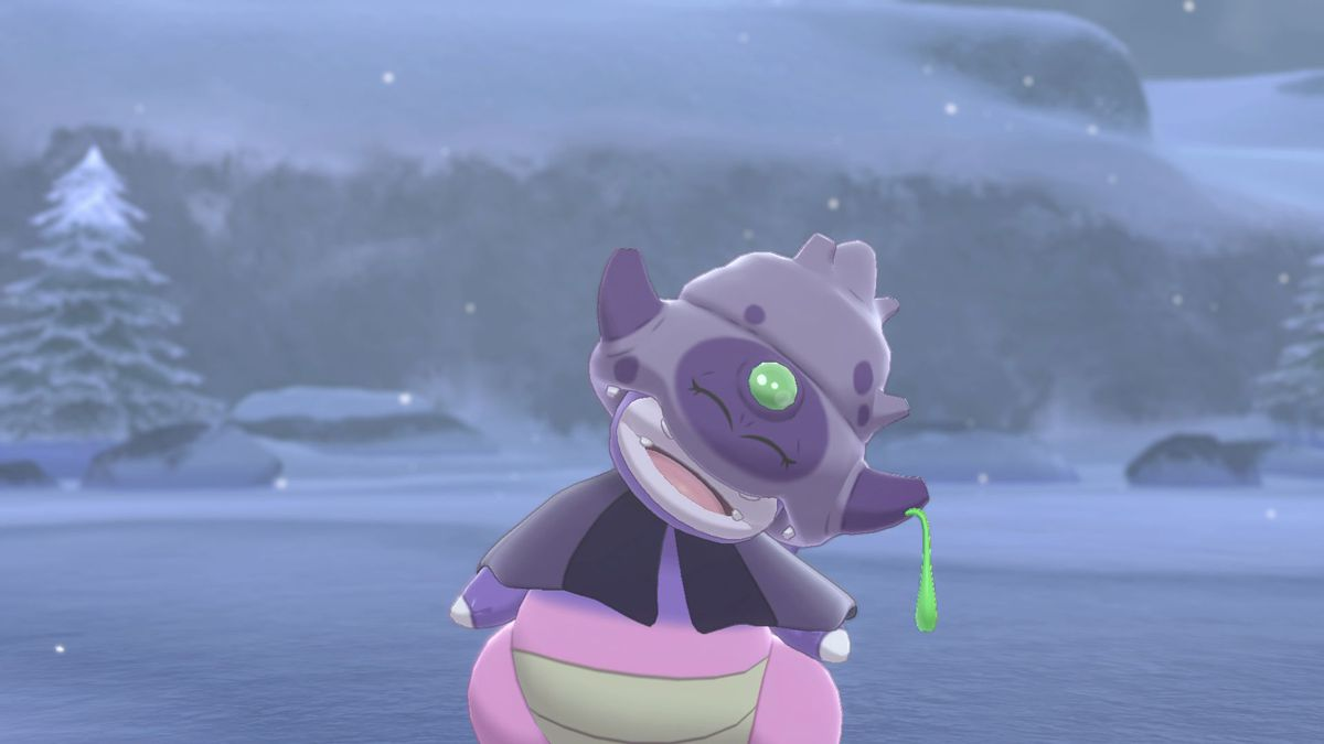 A screenshot of a sleepy looking Galarian Slowking from Pokémon Sword/Shield
