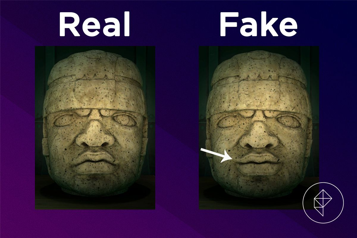 A comparison of the real and fake Rock-head Statue
