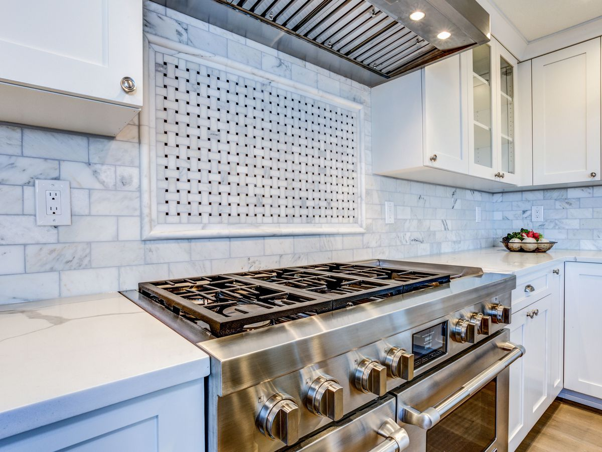 Stainless steel stove in kitchen