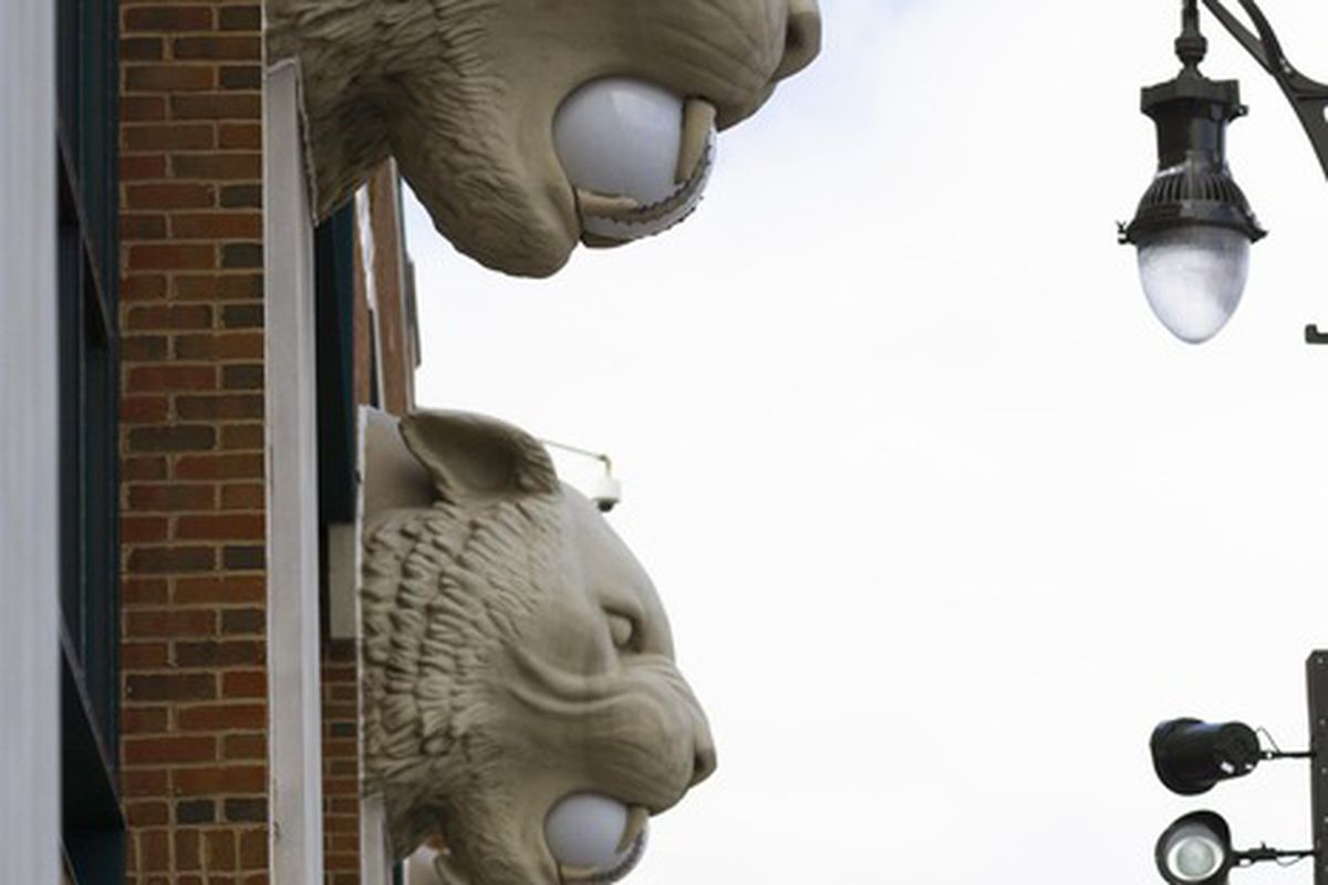 April 5, 2012; Detroit, MI, USA; Tigers heads with baseballs in their mouths on the outside wall of Comerica Park.  Mandatory Credit: Rick Osentoski-US PRESSWIRE