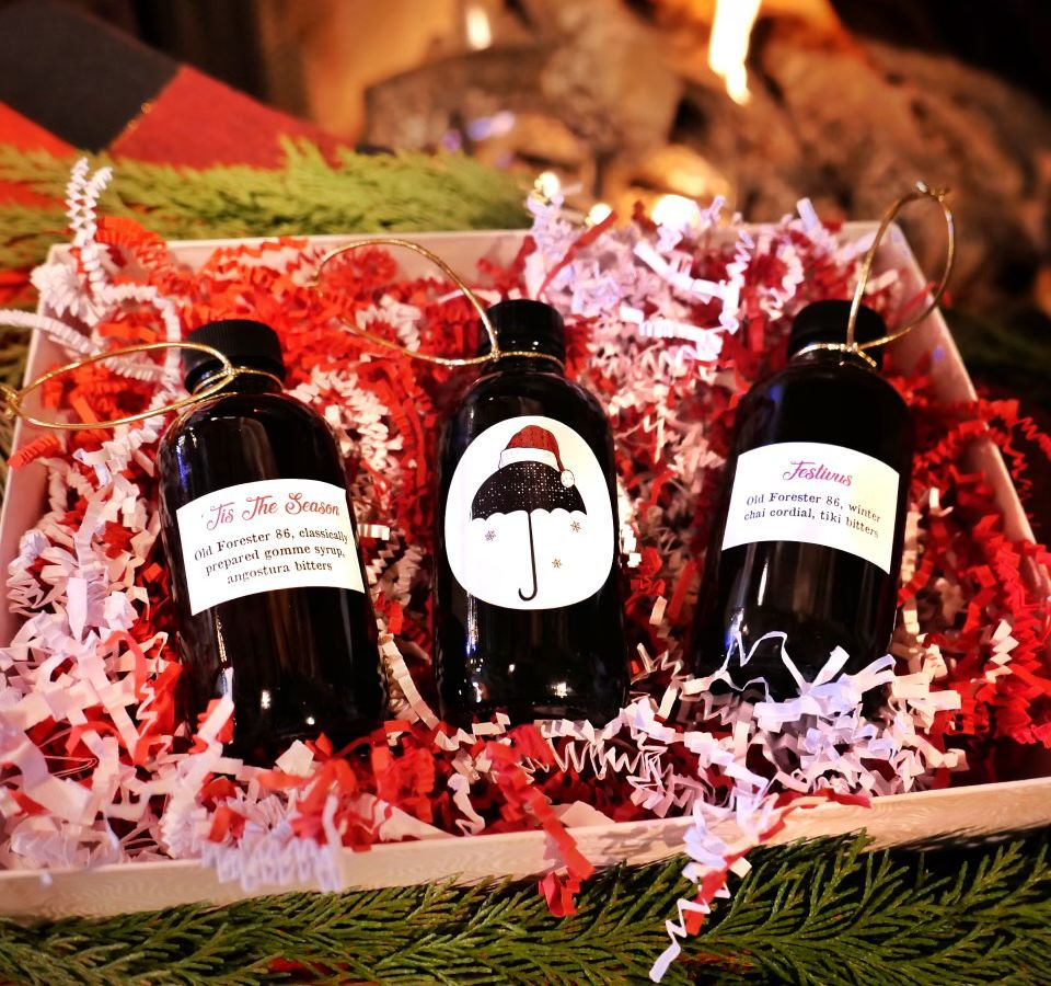 A package of boxed cocktails with holiday themes.