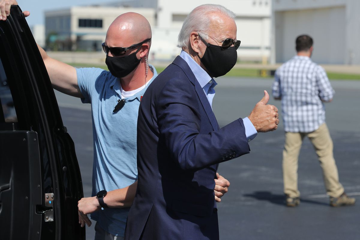 Democratic presidential nominee Joe Biden boards an airplane at New Castle Airport September 07, 2020 in New Castle, Delaware. Biden is traveling to Harrisburg, Pennsylvania for a Labor Day virtual event with AFL-CIO President Richard Trumka and union members.