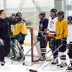New Grizzlies head coach Jason Christie puts hockey players through some drills at the Cottonwood Heights Recreation Center as he gets his team ready for their season opener on Oct. 21 against Las Vegas.