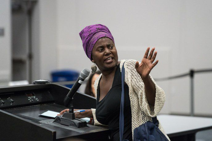 Pamela Hunt speaks at the Chicago Police Board meeting on Thursday.   Max Herman/For the Sun-Times