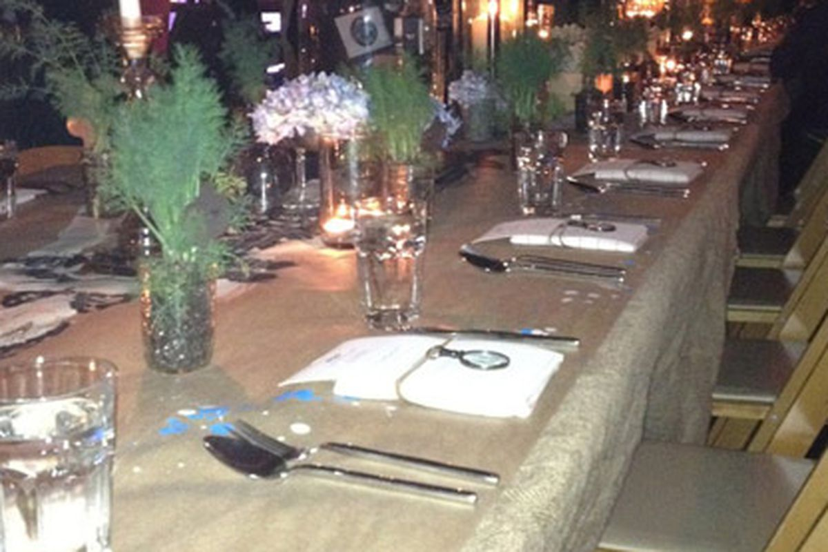 The dinner table at the Kanon vodka party at The Goat Farm last night. The event was catered by The Lawrence.