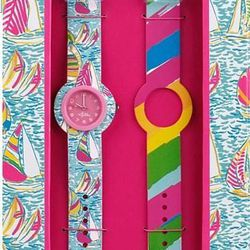 """<a href=""""http://www.lillypulitzer.com/product/Accessories-Shoes/Jewelry/entity/pc/61/c/66/3009.uts?swatchName=Resort+White+Chum+Bucket"""">Lily Pulitzer watch set</a>, $20, lilypulitzer.com"""
