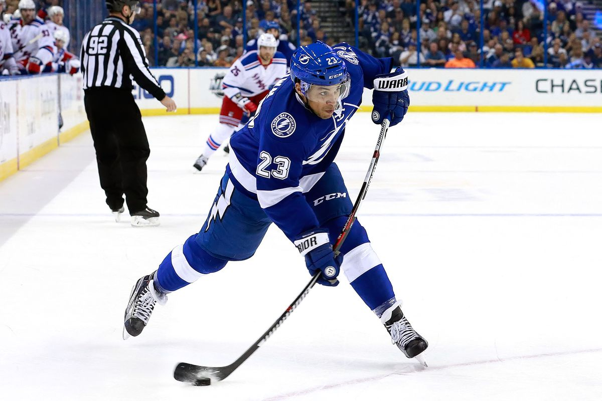 The Lightning's J.T. Brown fires a shot during Tampa Bay's 2-1 win over the Rangers Thursday night in Tampa.