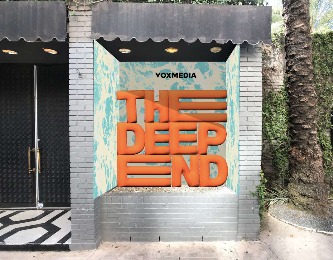 """The Belmont facade with an inflatable """"The Deep End"""" logo"""