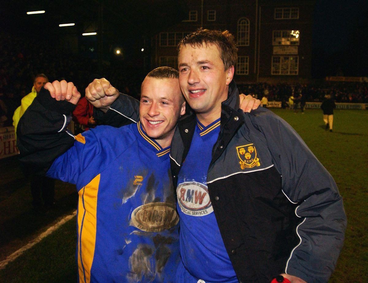 Luke Rodgers and Nigel Jemson of Shrewsbury Town celebrate