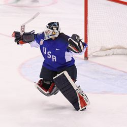 Madeline Rooney #35 of the United States celebrates after making a save against Meghan Agosta #2 of Canada (not pictured) in a shootout to win the Women's Gold Medal Game.