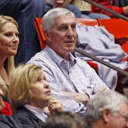 Former Utah Jazz coach Jerry Sloan watches as the University of Utah defeats Oregon State 72-61 in PAC 12 men's basketball Thursday, March 7, 2013, in Salt Lake City.