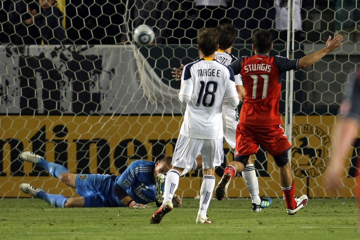 Years from now, Sturgis will use this picture to tell his gullible grandkids that he scored against LA Galaxy.  Don't believe him kids, don't believe him.