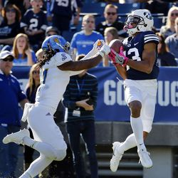 Brigham Young Cougars wide receiver Micah Simon pulls in a touchdown pass with San Jose State Spartans cornerback Andre Chachere defending during NCAA football in Provo on Saturday, Oct. 28, 2017.