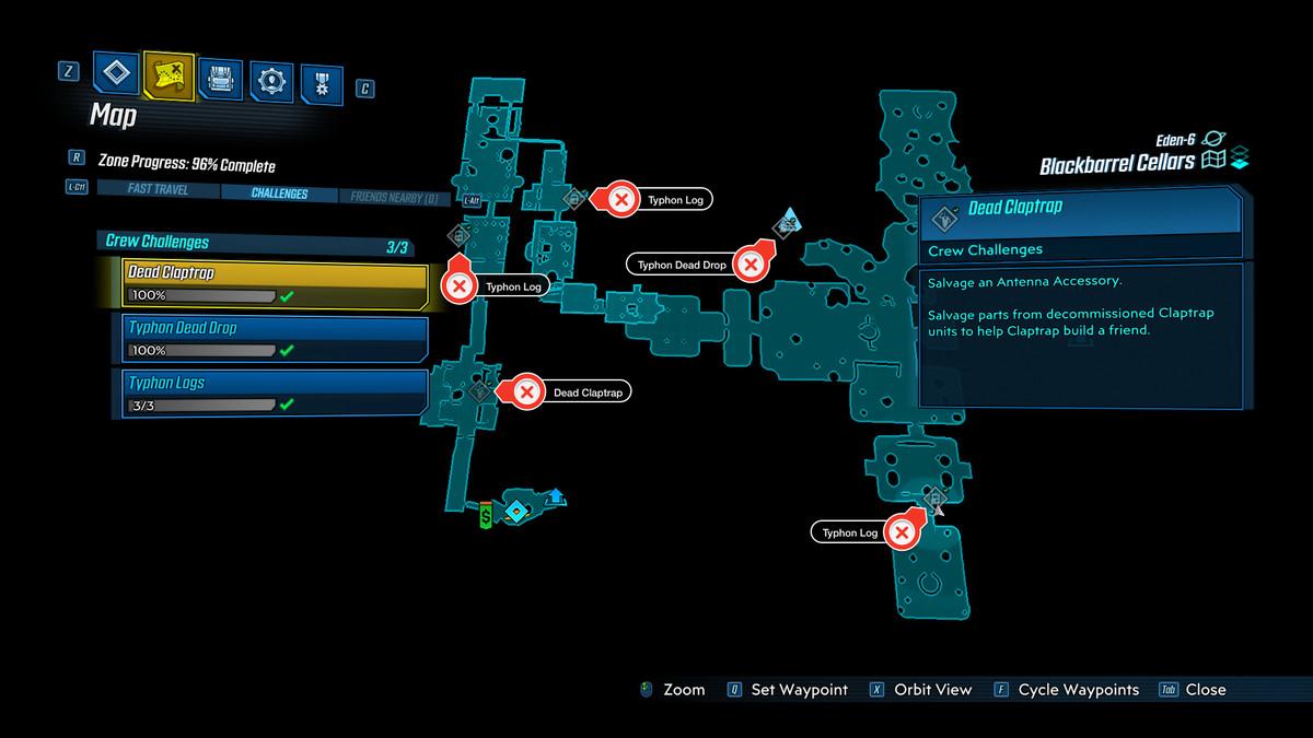 Borderlands 3 Blackbarrel Cellars Challenges Map Guide