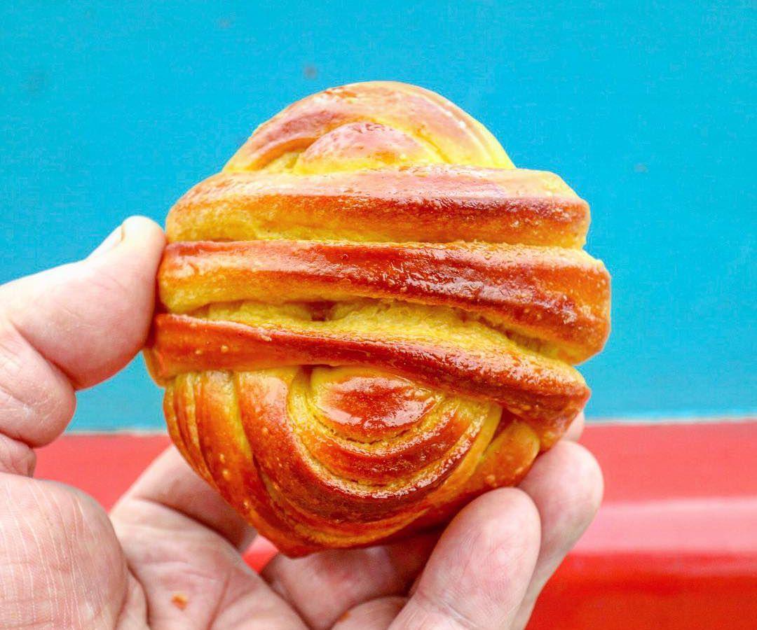 A turmeric bun from Pavilion Bakery in Victoria Park, London
