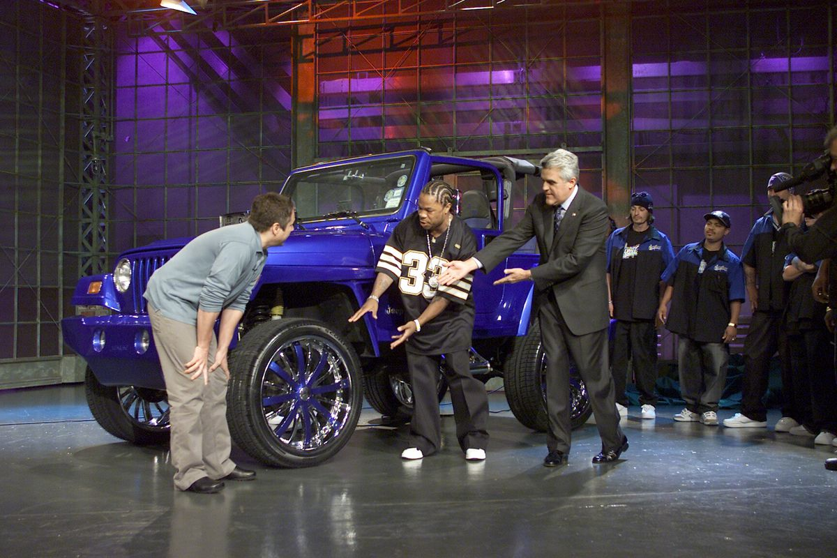 Pimp My Ride host Xzibit shows off a custom car on The Tonight Show With Jay Leno