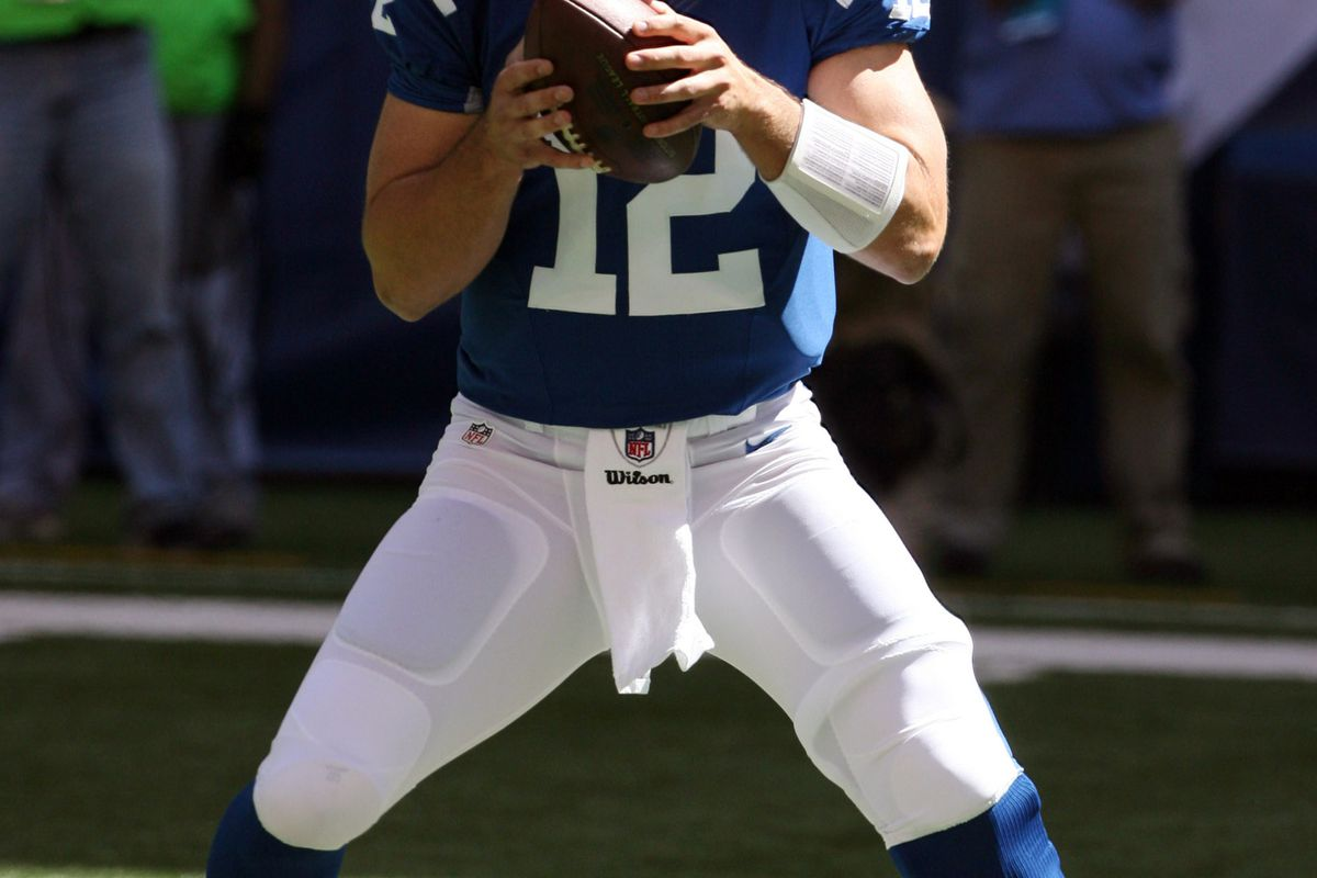 Sep 16, 2012; Indianapolis, IN, USA; Indianapolis Colts quarterback  Andrew Luck (12) throws a pass against the Minnesota Vikings at Lucas Oil Stadium.  Mandatory Credit: Brian Spurlock-US PRESSWIRE