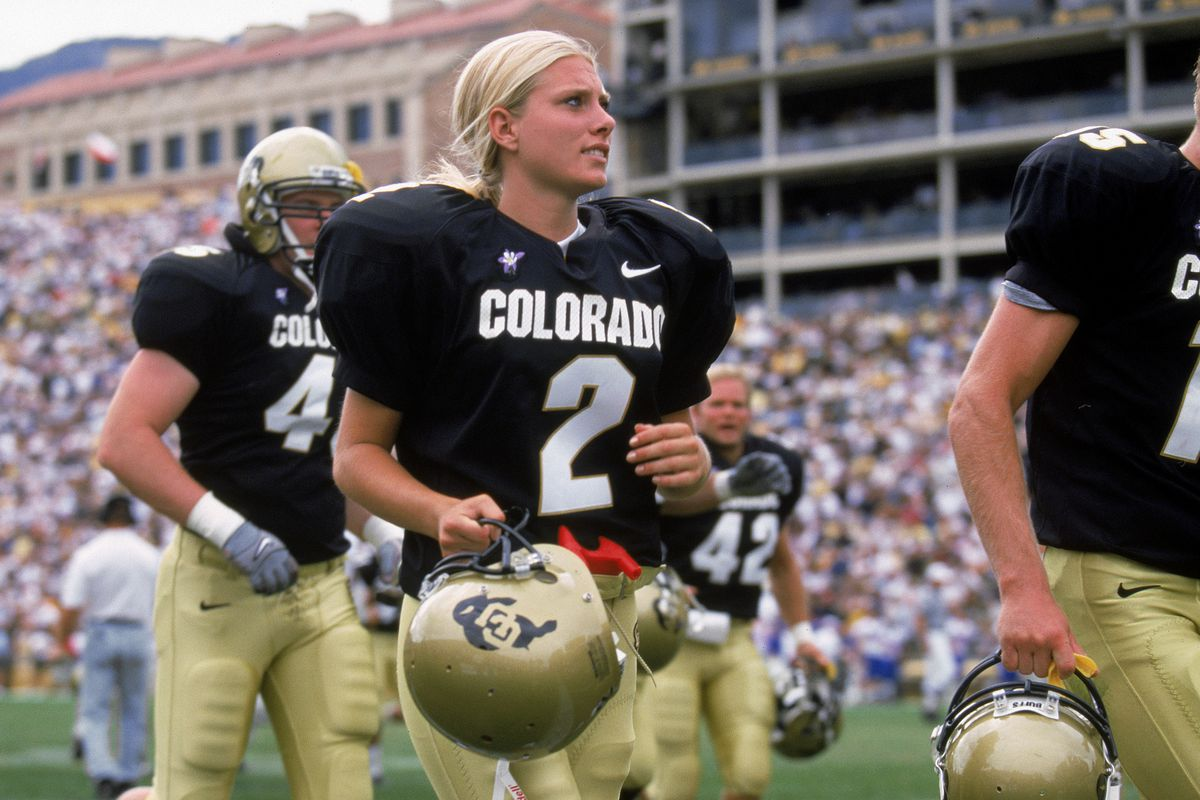 BOULDER, CO - SEPTEMBER 18: Katie Hnida of the University of Colorado heads off the field during the game against the University of Kansas at Folsom Field on September 18, 1999 in Boulder, Colorado.