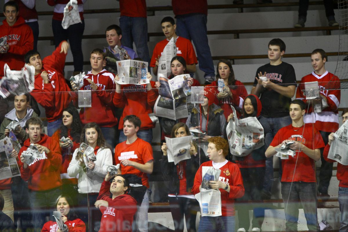 The Cornell student section looks on