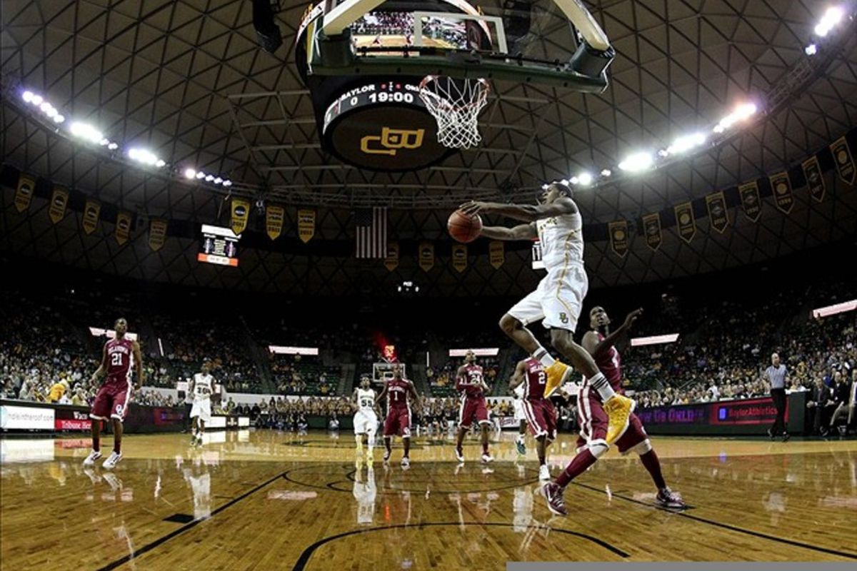 Feb 25, 2012; Waco, TX, USA; Baylor Bears forward Perry Jones III (1) scores during the game against the Oklahoma Sooners at the Ferrell Center.  Baylor won 70-60. Mandatory Credit: Kevin Jairaj-US PRESSWIRE