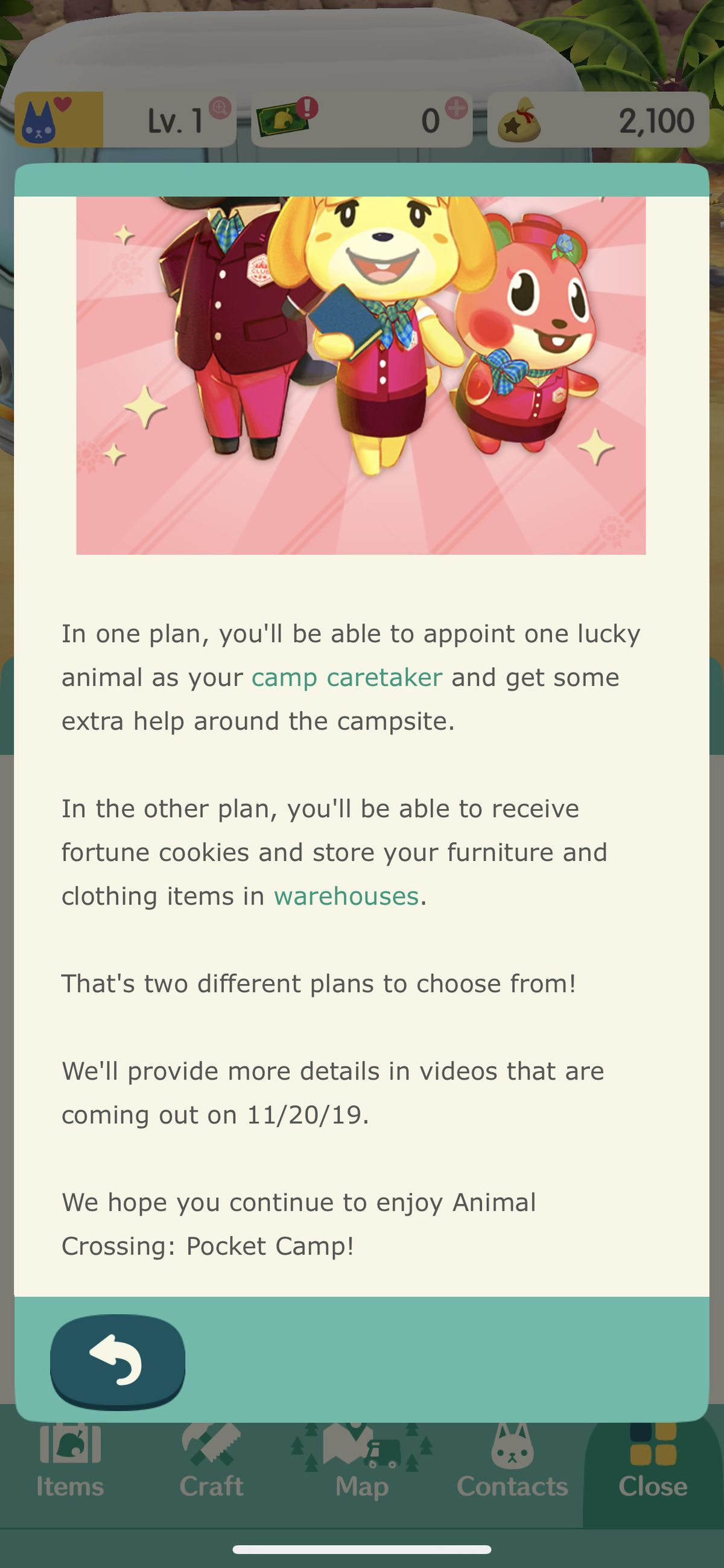 An in-game notice describes the upcoming subscription feature in Animal Crossing: Pocket Camp