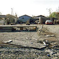 Little remains of Dion Harris' home on her lot in the lower Ninth Ward of New Orleans in the wake of Katrina.