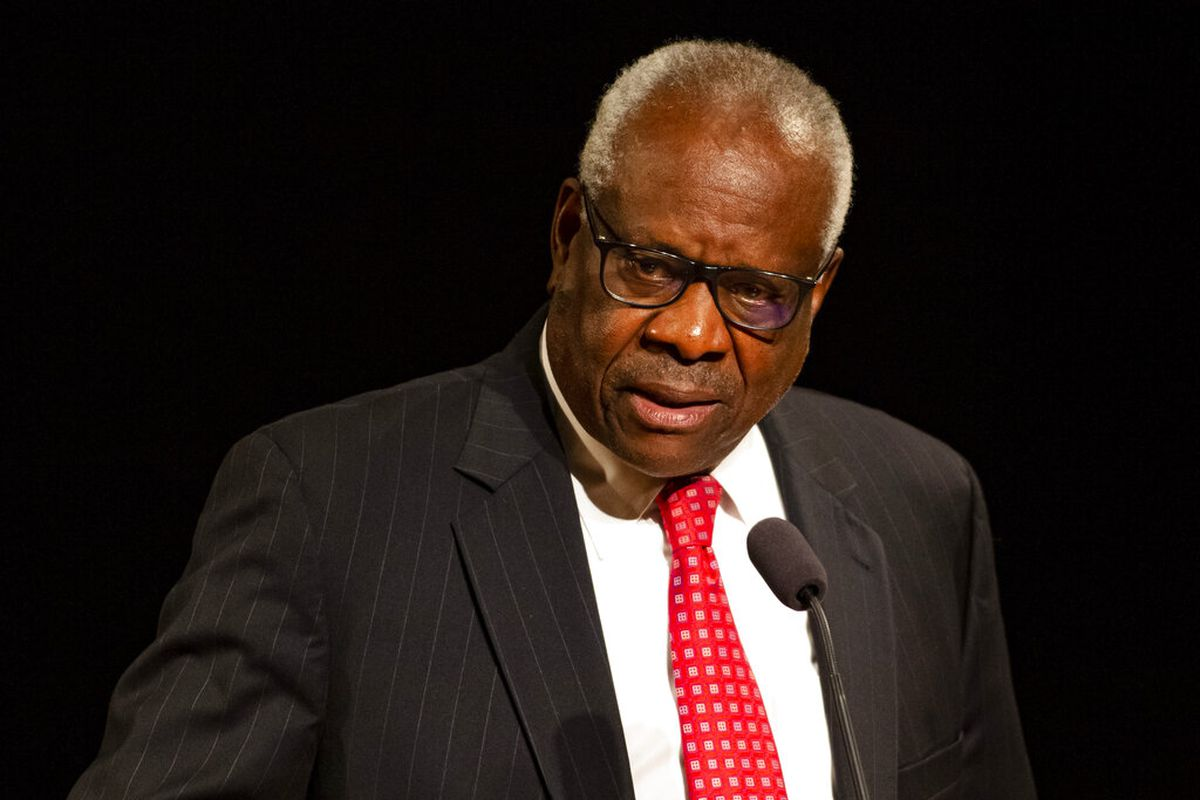 Supreme Court Justice Clarence Thomas speaks at the University of Notre Dame.