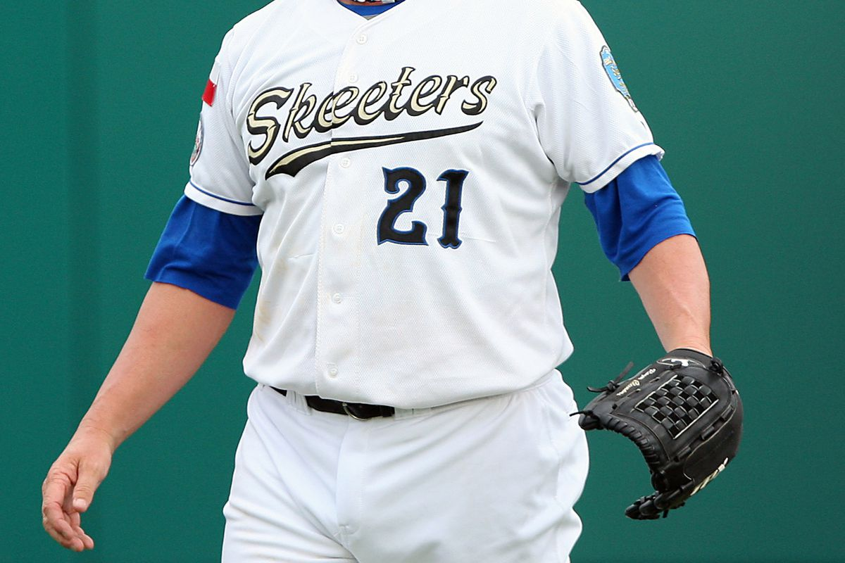 August 25, 2012; Houston, TX, USA; Sugar Land Skeeters pitcher Roger Clemens (21) warms up before a game against the Bridgeport Bluefish at Constellation Field. Mandatory Credit: Troy Taormina-US PRESSWIRE
