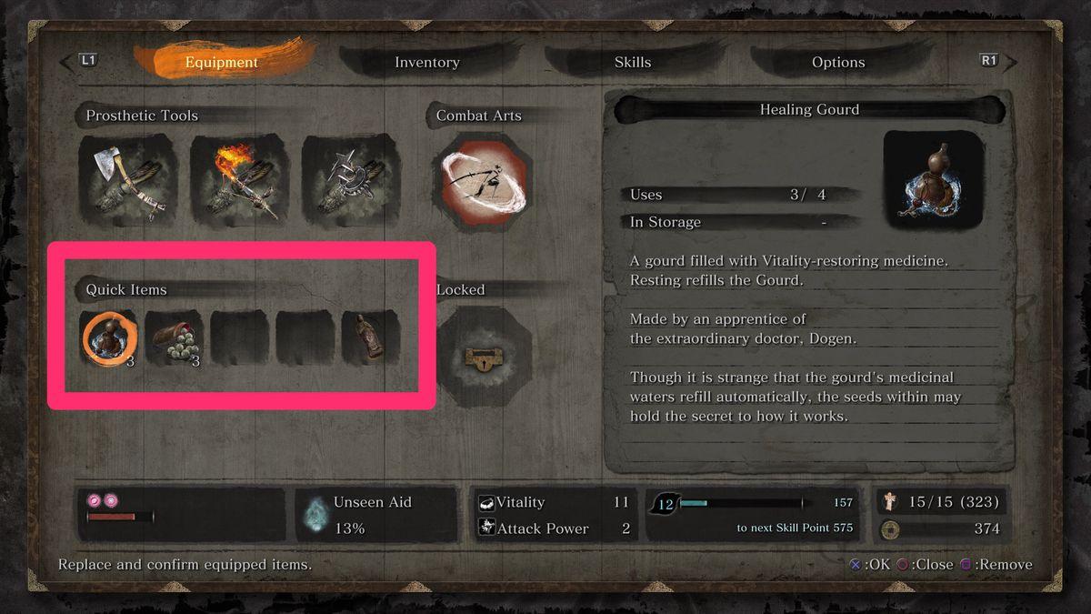 Sekiro Quick Items menu organization